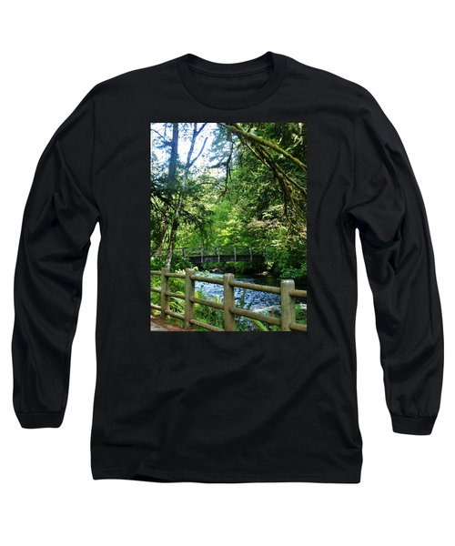 Long Sleeve T-Shirt featuring the photograph Silver Falls Stream by VLee Watson