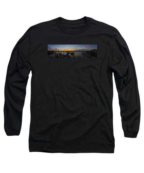 Silver Lake Sunset Panorama Long Sleeve T-Shirt by Greg Reed