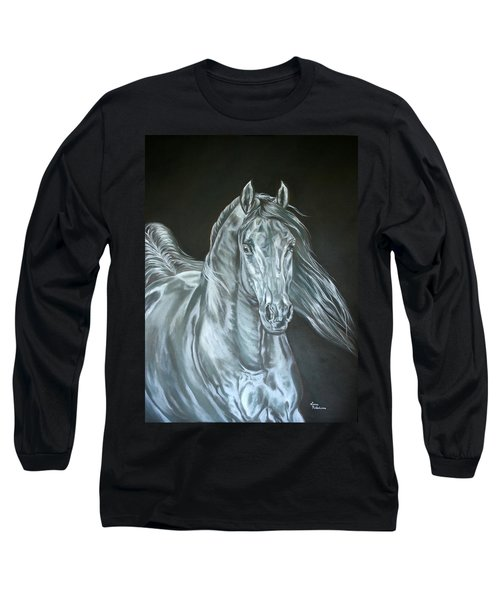 Long Sleeve T-Shirt featuring the painting Silver by Leena Pekkalainen