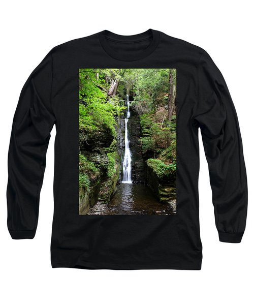 Long Sleeve T-Shirt featuring the photograph Silver Thread Falls by Trina  Ansel