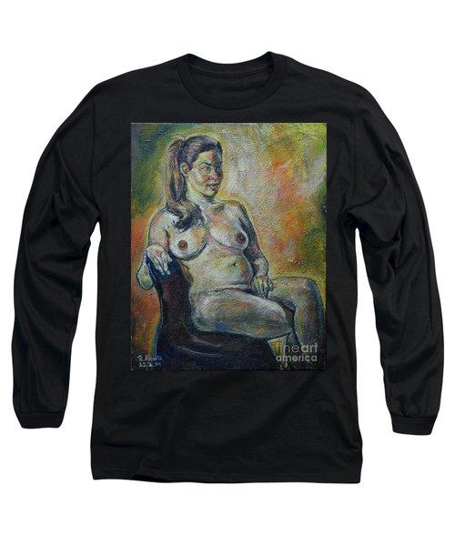 Sitting Nude Long Sleeve T-Shirt