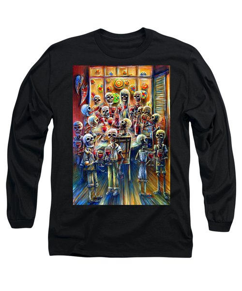 Long Sleeve T-Shirt featuring the painting Skeleton Wine Party by Heather Calderon