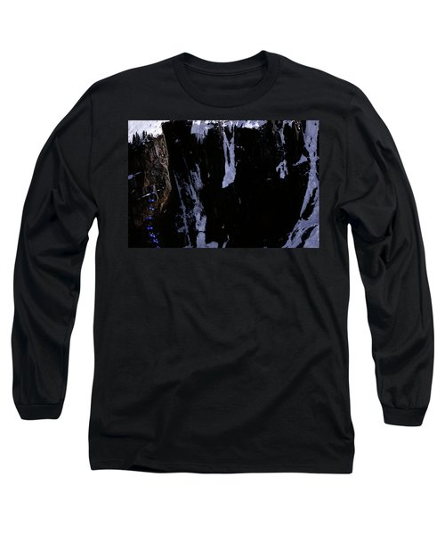 Skier Basejumping From A Cliff Long Sleeve T-Shirt