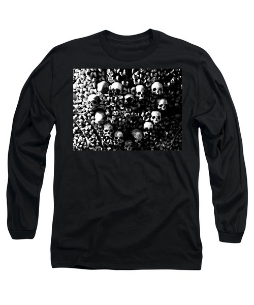 Skulls And Bones In The Catacombs Of Paris France Long Sleeve T-Shirt