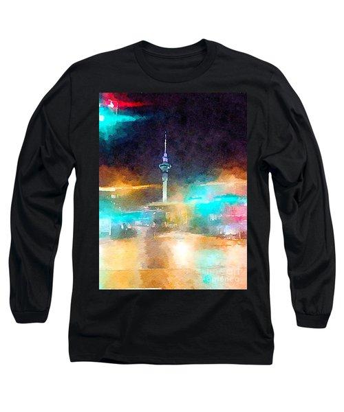 Sky Tower By Night Long Sleeve T-Shirt
