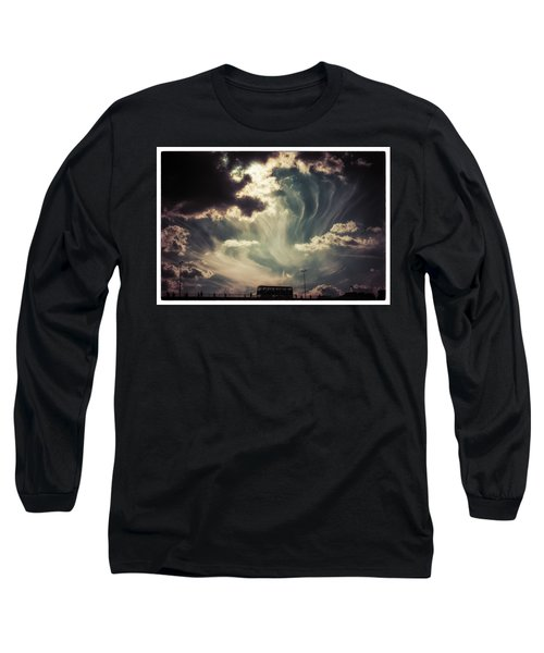 Sky Wisps Over A Double Decker Long Sleeve T-Shirt