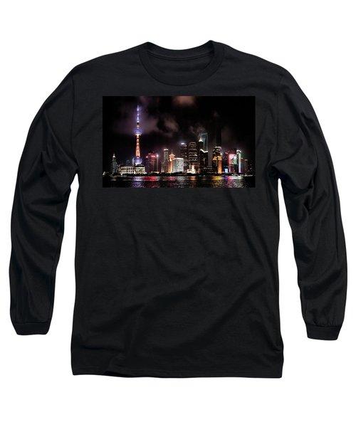 Skylines Lit At Night, Oriental Pearl Long Sleeve T-Shirt