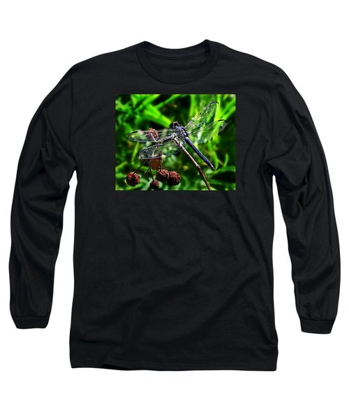 Slaty Skimmer Dragonfly Long Sleeve T-Shirt by William Tanneberger
