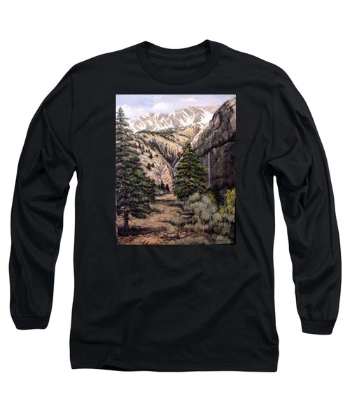 Long Sleeve T-Shirt featuring the painting Sleeping Faces In The Rock by Donna Tucker