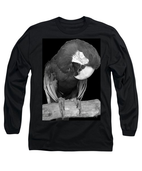 Sleepy Bird  There Is A Nap For That B And W Long Sleeve T-Shirt by Barbie Corbett-Newmin