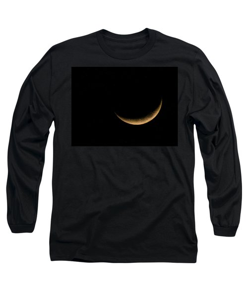 Long Sleeve T-Shirt featuring the photograph Slender Waxing Crescent Moon by Katie Wing Vigil