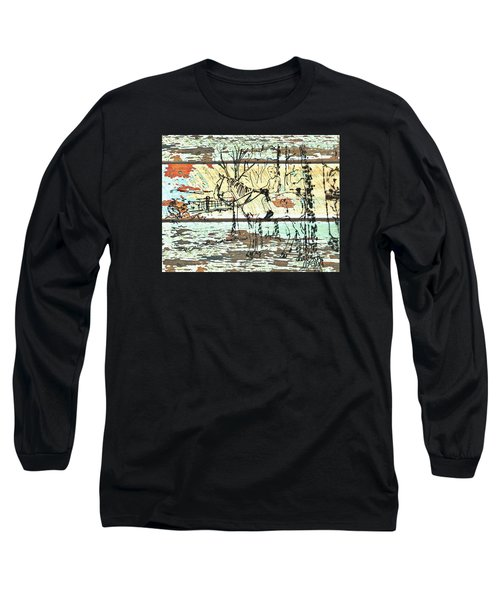 His First Horse  Long Sleeve T-Shirt by Larry Campbell