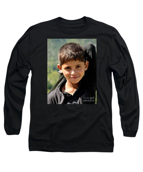 Long Sleeve T-Shirt featuring the photograph Smiling Boy In The Swat Valley - Pakistan by Imran Ahmed