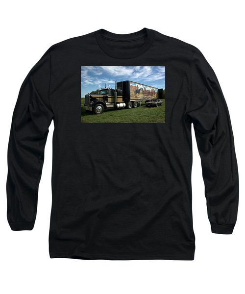 Long Sleeve T-Shirt featuring the photograph Smokey And The Bandit Tribute 1973 Kenworth W900 Black And Gold Semi Truck by Tim McCullough