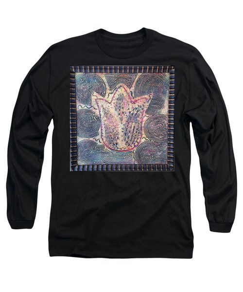 Snakes By The Tulip By Alfredo Garcia Art - Original Mixed Media Modern Abstract Long Sleeve T-Shirt