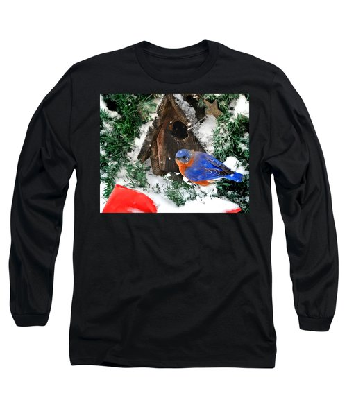 Snow Bluebird Christmas Card Long Sleeve T-Shirt by Nava Thompson
