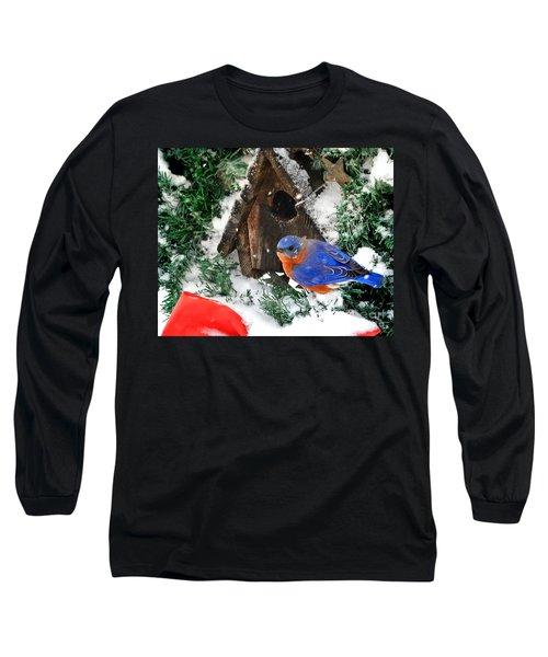 Snow Bluebird Christmas Card Long Sleeve T-Shirt
