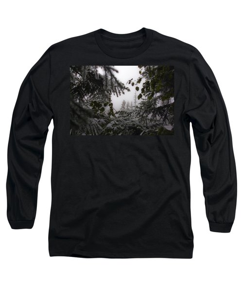 Long Sleeve T-Shirt featuring the photograph Snow In Trees At Narada Falls by Greg Reed