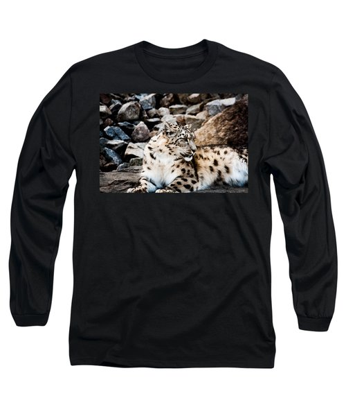 Snow Leopard Long Sleeve T-Shirt by Daniel Precht