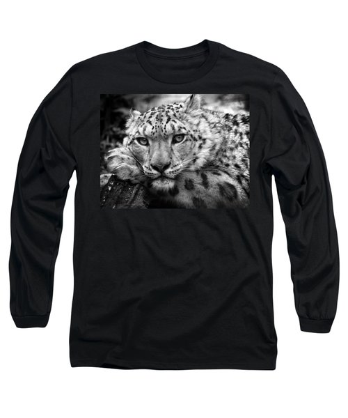 Snow Leopard In Black And White Long Sleeve T-Shirt