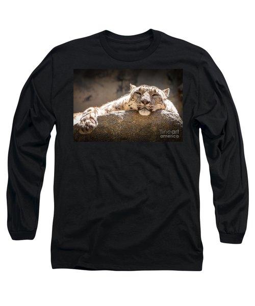 Snow Leopard Relaxing Long Sleeve T-Shirt