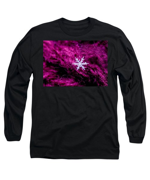 Snowflake On Magenta Long Sleeve T-Shirt