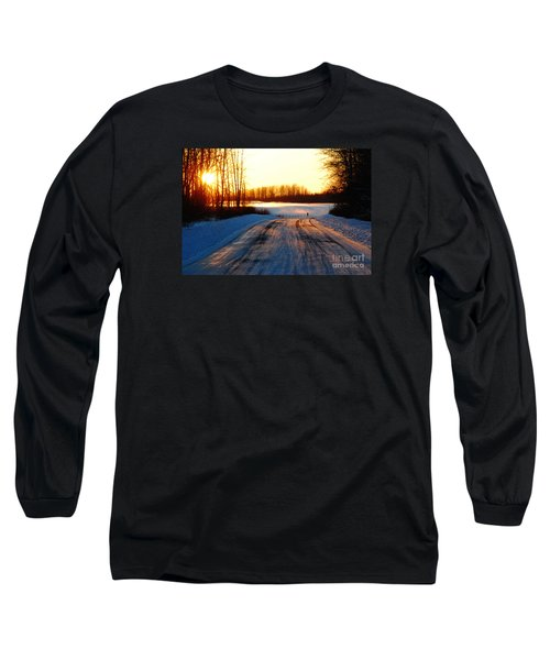 Snowy Anchorage Sunset Long Sleeve T-Shirt