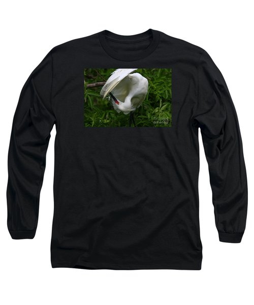 Snowy Egret Preening Long Sleeve T-Shirt