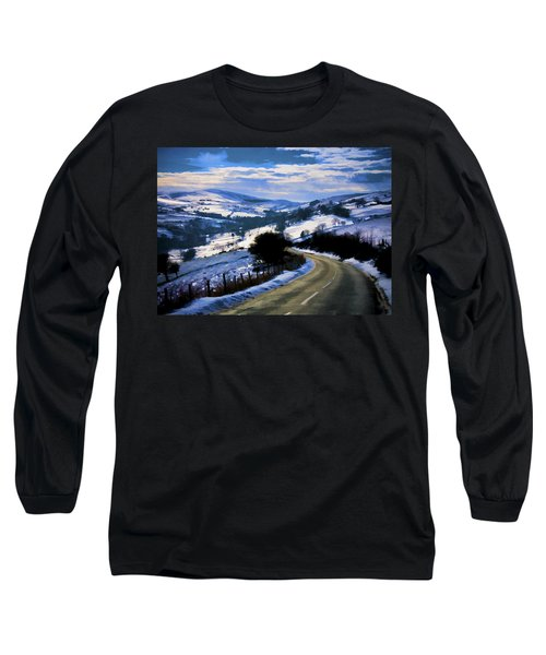 Snowy Scene And Rural Road Long Sleeve T-Shirt
