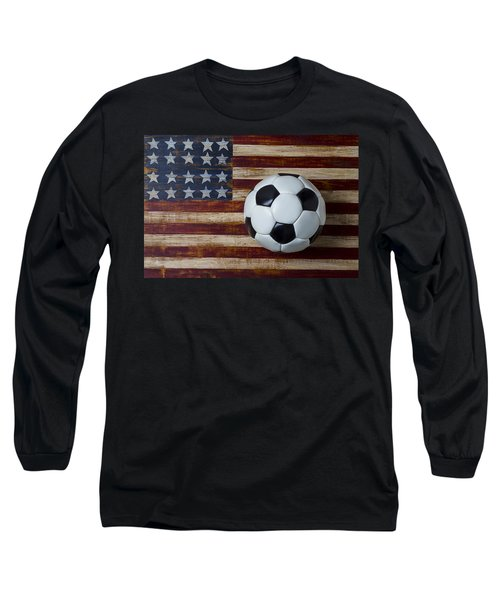 Soccer Ball And Stars And Stripes Long Sleeve T-Shirt