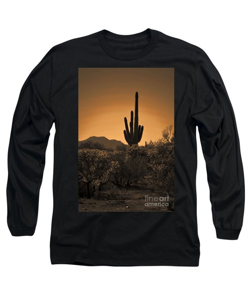 Solitary Saguaro Long Sleeve T-Shirt by Deb Halloran