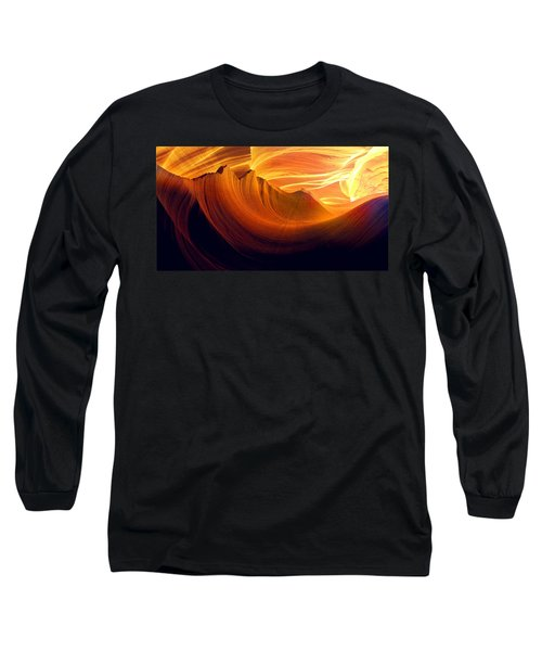 Long Sleeve T-Shirt featuring the photograph Somewhere In America Series - Golden Yellow Light In Antelope Canyon by Lilia D
