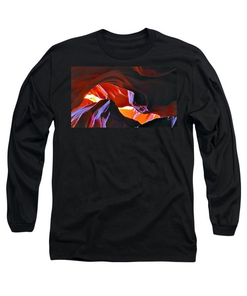 Long Sleeve T-Shirt featuring the photograph Somewhere In Waves In Antelope Canyon by Lilia D