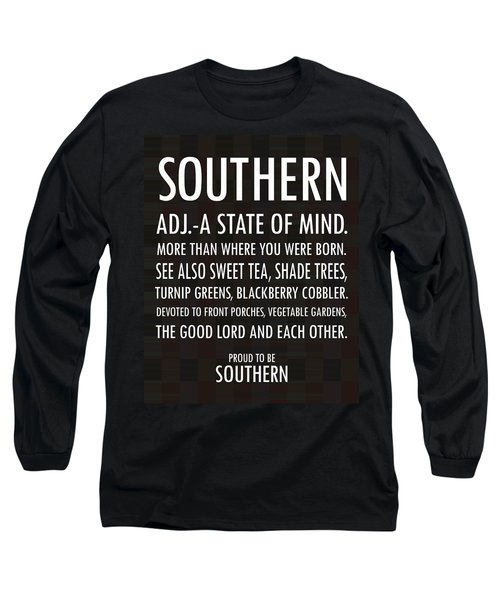Southern State Of Mind Black And White Long Sleeve T-Shirt by Debbie Karnes