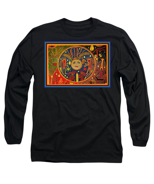 Long Sleeve T-Shirt featuring the digital art Southwest Huichol Del Sol by Vagabond Folk Art - Virginia Vivier