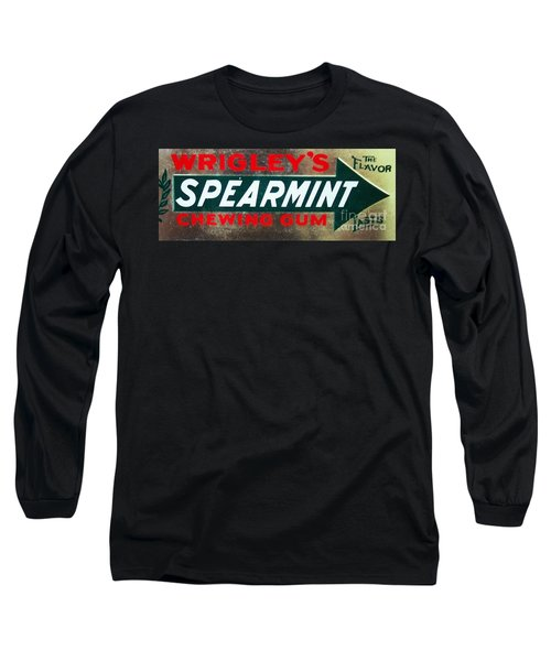 Spearmint Gum Sign Vintage Long Sleeve T-Shirt by Saundra Myles