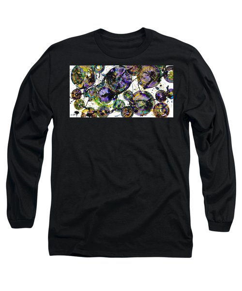 Long Sleeve T-Shirt featuring the painting Spherical Purple Haze - 1510.021413 by Kris Haas