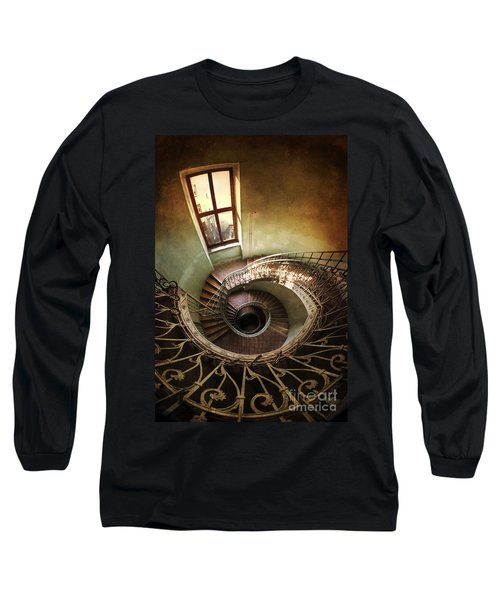 Long Sleeve T-Shirt featuring the photograph Spiral Staircaise With A Window by Jaroslaw Blaminsky