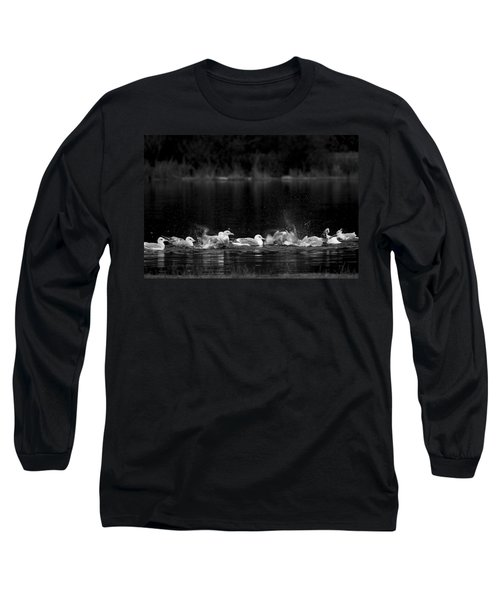 Long Sleeve T-Shirt featuring the photograph Splashing Seagulls by Yulia Kazansky