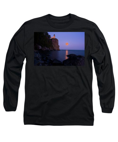 Split Rock Lighthouse - Full Moon Long Sleeve T-Shirt