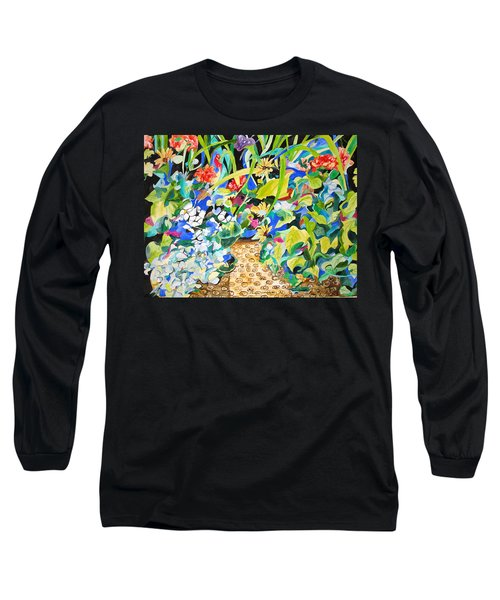 Long Sleeve T-Shirt featuring the painting Spring Flowers In A Brown Basket by Esther Newman-Cohen