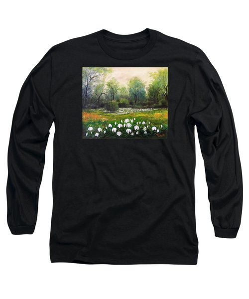 Long Sleeve T-Shirt featuring the painting Spring by Vesna Martinjak