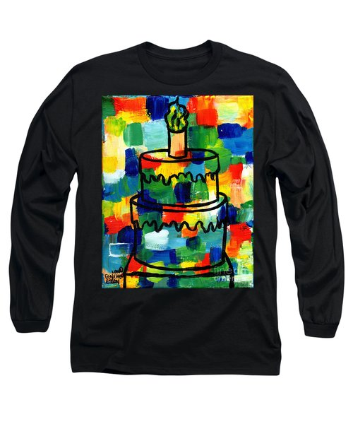 Stl250 Birthday Cake Abstract Long Sleeve T-Shirt by Genevieve Esson