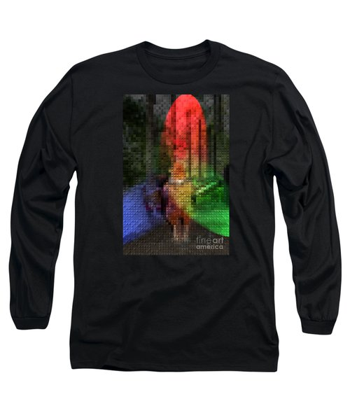 Long Sleeve T-Shirt featuring the photograph Stain Glass Chicken by Donna Brown