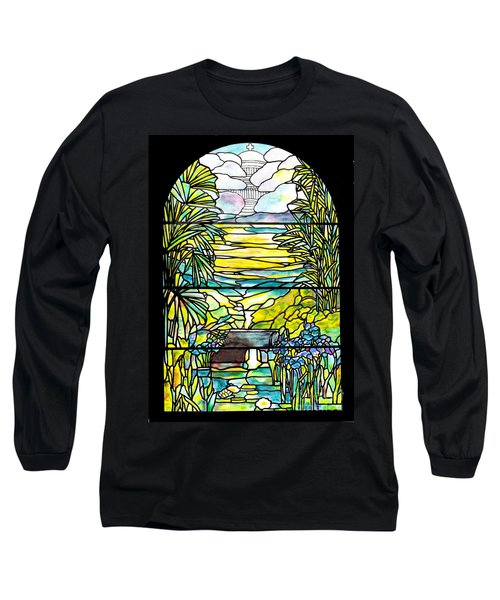 Stained Glass Tiffany Holy City Memorial Window Long Sleeve T-Shirt by Donna Walsh