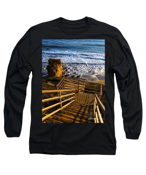 Long Sleeve T-Shirt featuring the photograph Steps To Blue Ocean And Rocky Beach by Jerry Cowart