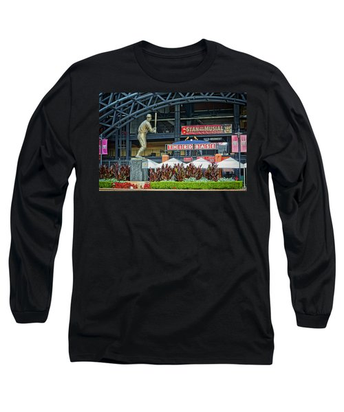 Stan Musial Statue At Busch Stadium St Louis Mo Long Sleeve T-Shirt by Greg Kluempers