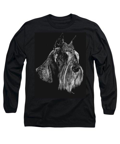 Long Sleeve T-Shirt featuring the drawing Standard Schnauzer by Rachel Hames