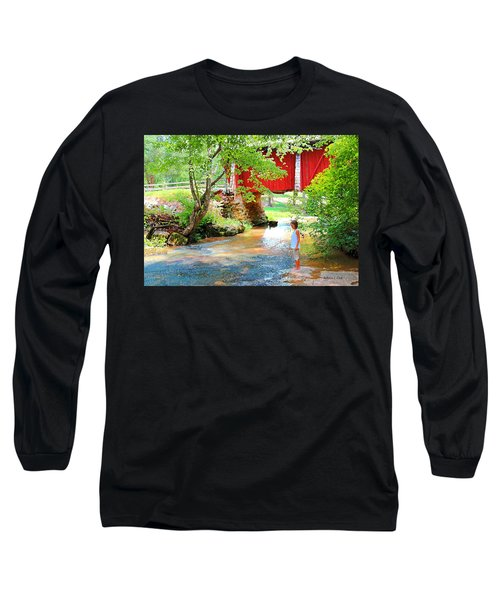 Standing By The River At Campbell's Bridge Long Sleeve T-Shirt