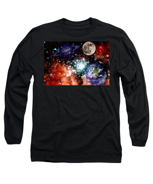 Star Field With Planets Long Sleeve T-Shirt